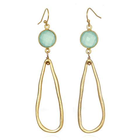 Mint Gem Drop Earrings