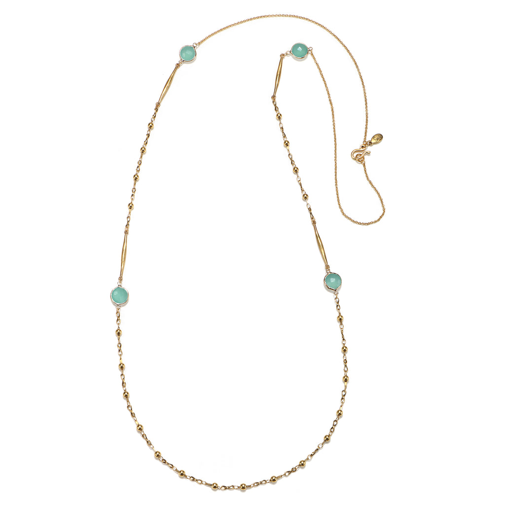 Sequin Long Semiprecious Stone Station Necklace Yhhfs7Fr