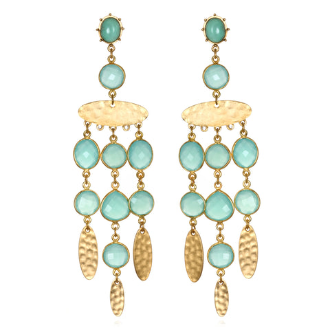 Mint Gypset Chandelier Earrings