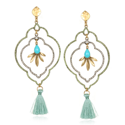 Mint Samba Tassel Earrings