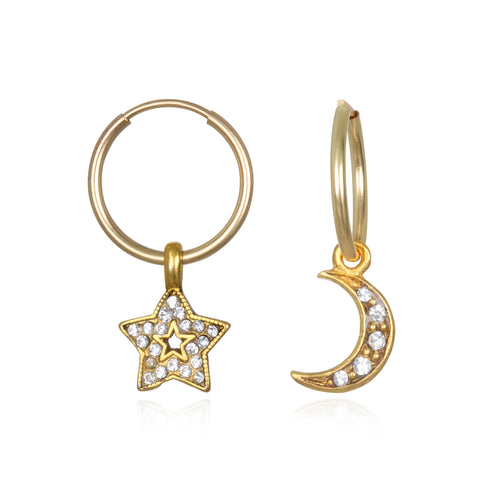 Moon & Star Charm Earrings