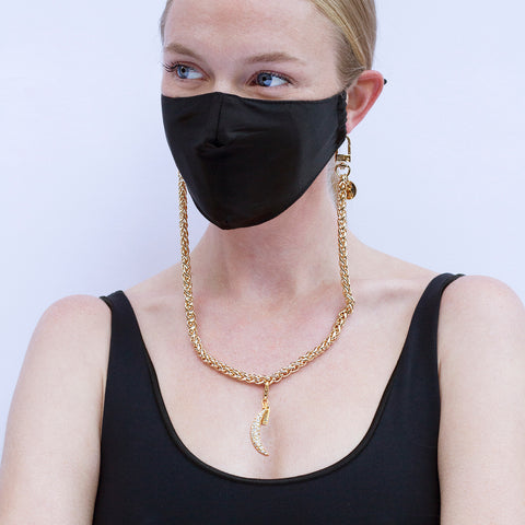 Pave Moon Charm & Mask Chain Set - Sequin X Pretty Connected