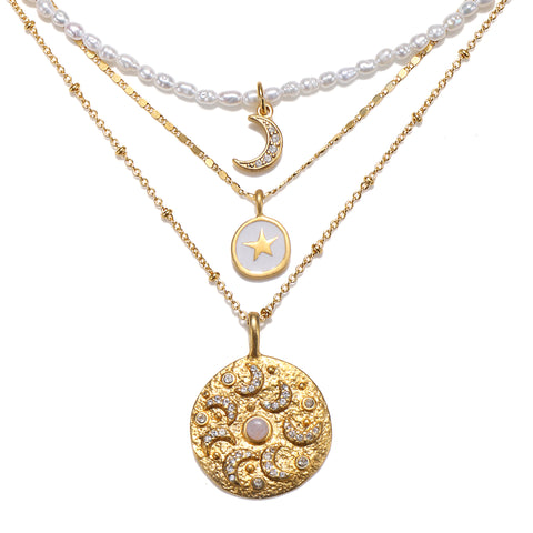 Moon Magic Pearl 3-Layer Talisman Necklace