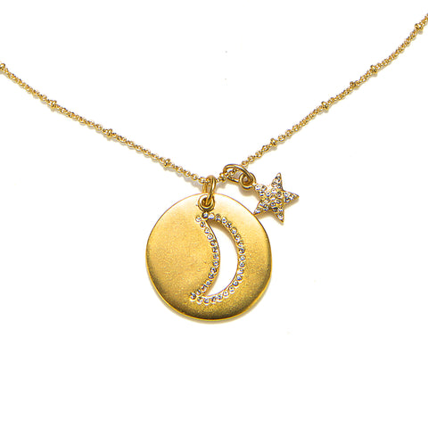Moon and Twinkling Star Talisman Long Charm Necklace