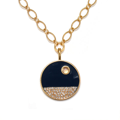 Moon Over The Sea Enamel Talisman Necklace