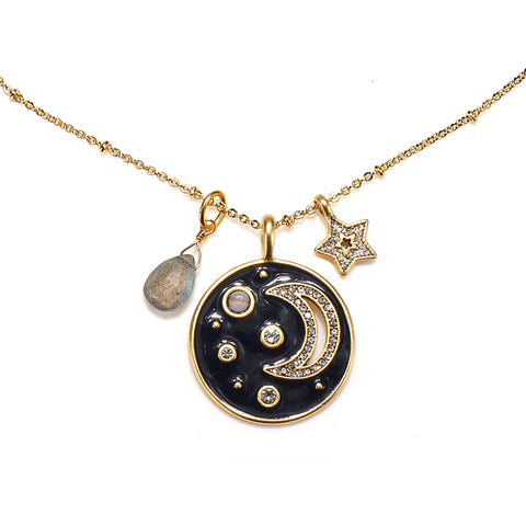 Moon & Stars 3-Charm Talisman Necklace