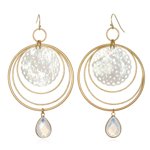 Moonstone Lace Statement Earrings