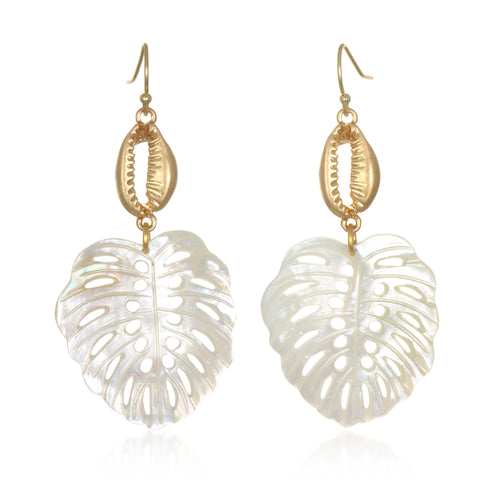 Cowrie Shell & Mother of Pearl Drop Earrings