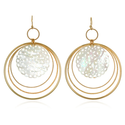 Mother-of-Pearl Lace Drop Earrings