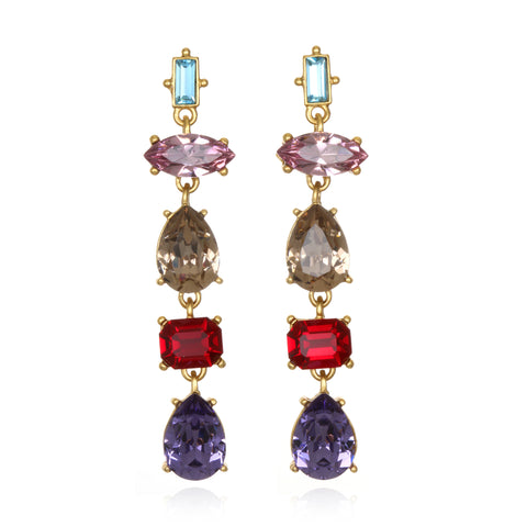 Multicolor Gem Cut Earrings