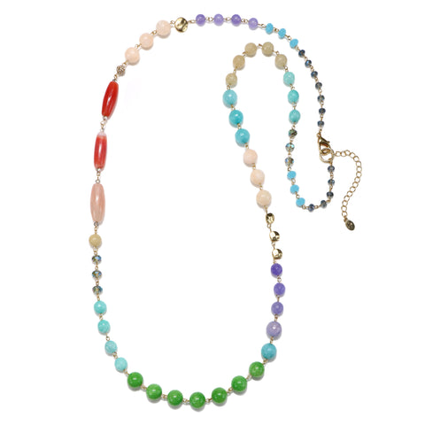 Multicolor Semi-Precious Strand Necklace