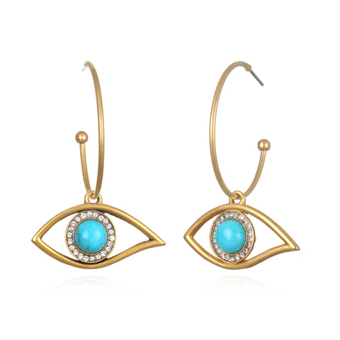 Mystic Turquoise Evil Eye Charm Hoop Earrings