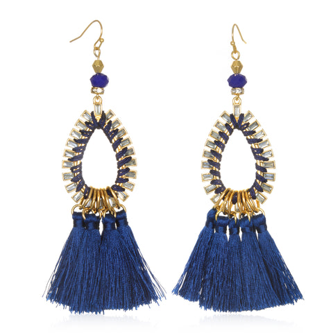 Navy Blue Tassel Statement Earrings