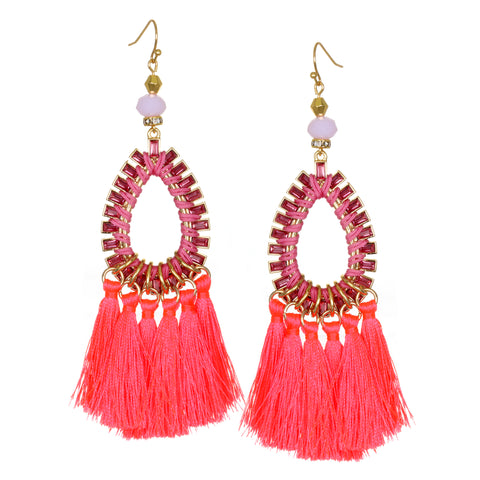 Neon Coral Statement Tassel Earrings