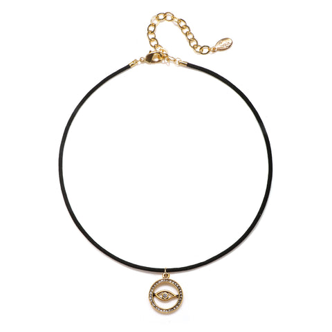 Open Pave Evil Eye Talisman Choker Necklace - Suede Cord