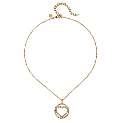 Open Pave Heart Talisman Charm Necklace