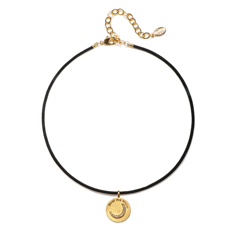 Over The Moon Talisman Choker Necklace - Suede Cord