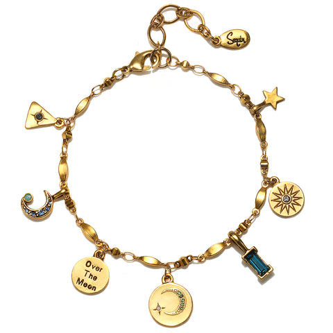 """Over The Moon"" Multi Charm Bracelet"
