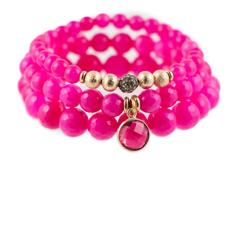 Pink Color Karma Bracelet Set