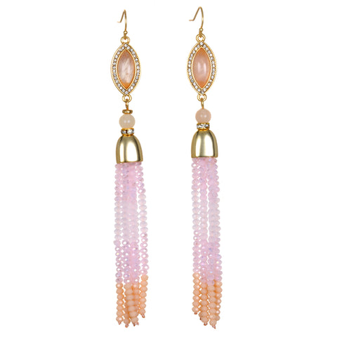 Pink Ombre Tassel Drop Earrings