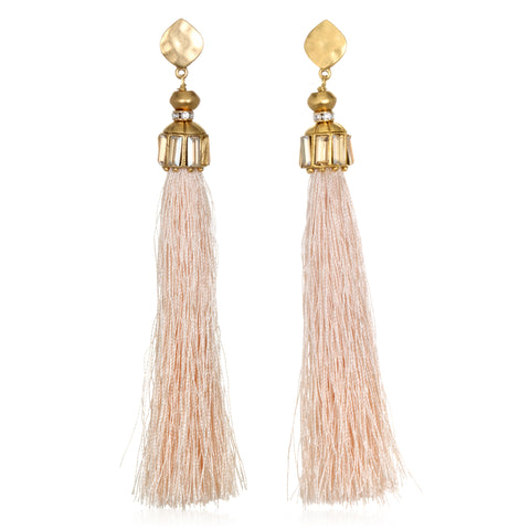 Pale Pink Hammered Gold Tassel Earrings