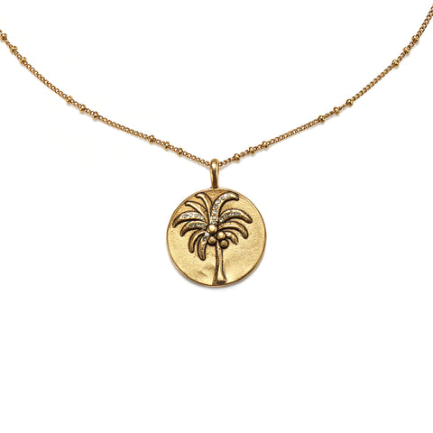 Palm Tree Medallion Charm Necklace