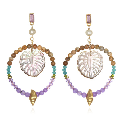 Palm Beaded Doorknocker Earrings