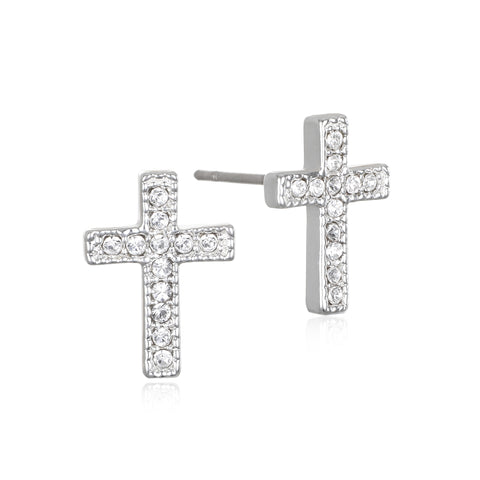 Pave Cross Stud Earrings