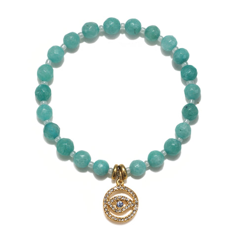 Pave Evil Eye Mint Color Karma Bracelet