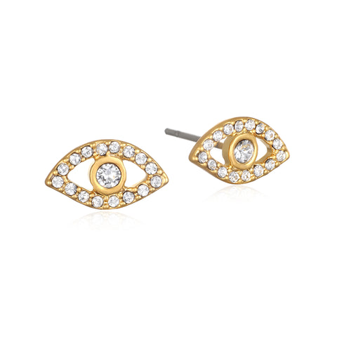 Pave Evil Eye Stud Earrings