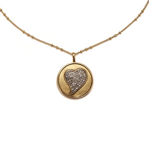 Pave Heart Medallion Charm Necklace
