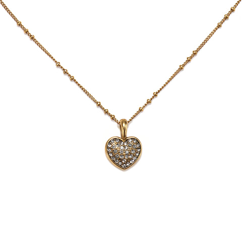 Pave Heart Charm Necklace