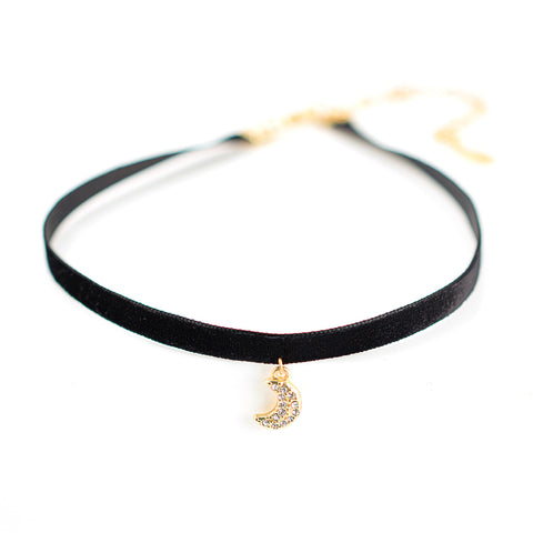 Pave Moon Talisman Choker Necklace - Velvet Ribbon