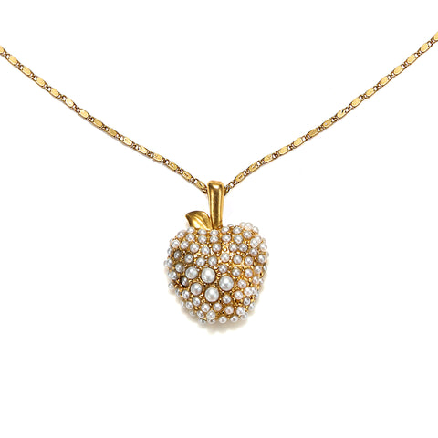 Pearl Apple Charm Necklace