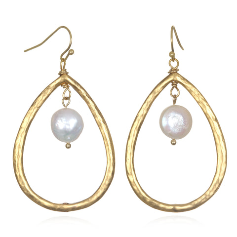 Pearl Color Karma Large Teardrop Earrings