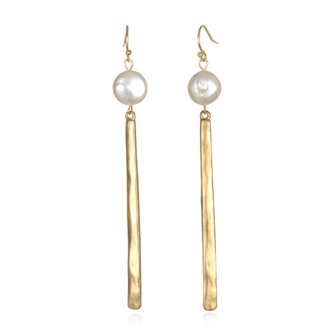 Pearl Color Karma Pendant Drop Earrings