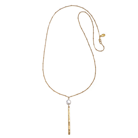 Pearl Color Karma Pendant Drop Necklace
