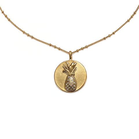 Pineapple Medallion Charm Necklace
