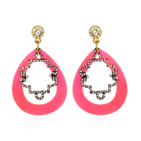 Pink Contrast Doorknocker Earrings