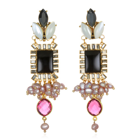 Pink Pearl Antoinette Statement Earrings
