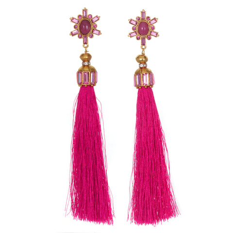 Pink Star Tassel Earrings