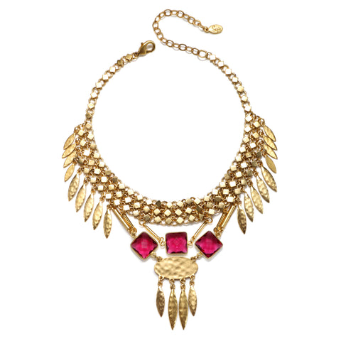 Fuschia Bermuda Statement Choker Necklace