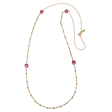 Pink Gem Station Necklace