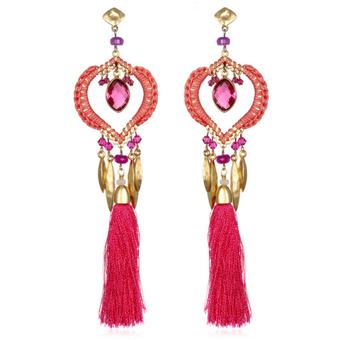 Pink Ibiza Tassel Earrings
