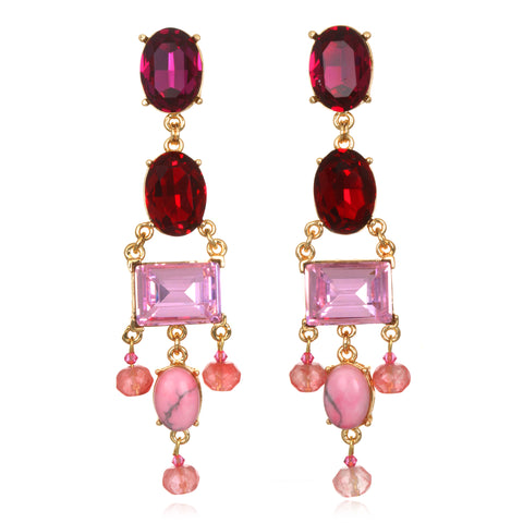 Pink Ombre Jeweled Chandelier Earrings