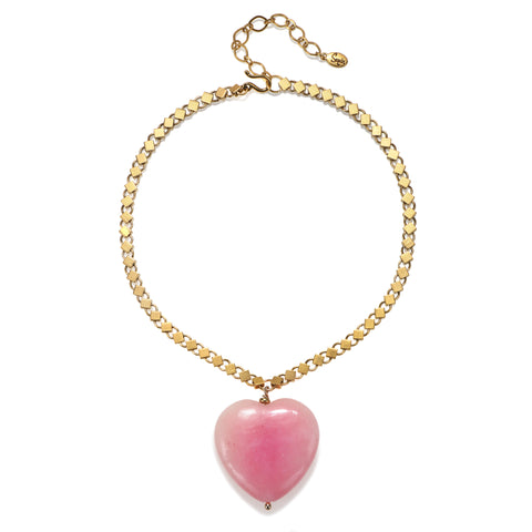 Pink Stone Heart Choker Necklace