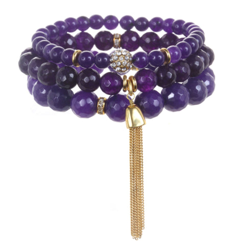 Purple Color Karma Bracelet Set