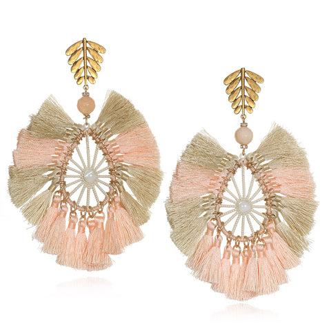 Raffia Statement Tassel Earrings