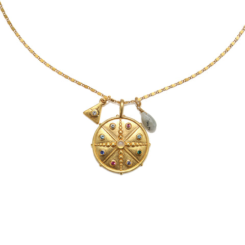 Rainbow Compass 3-Charm Talisman Necklace