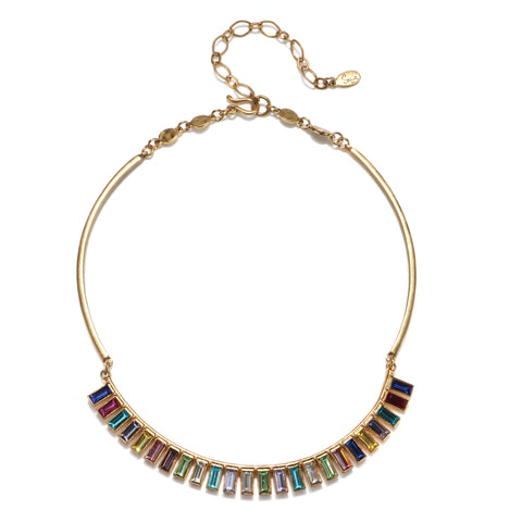 Rainbow Baguette Choker Necklace